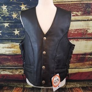 JAMIN LEATHER CONCEAL CARRY MOTORCYCLE VEST